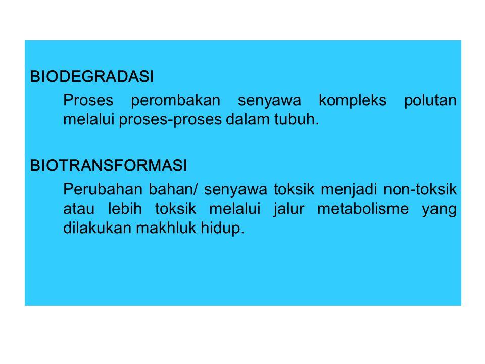 BIODEGRADASI Proses perombakan senyawa kompleks polutan melalui proses-proses dalam tubuh. BIOTRANSFORMASI.