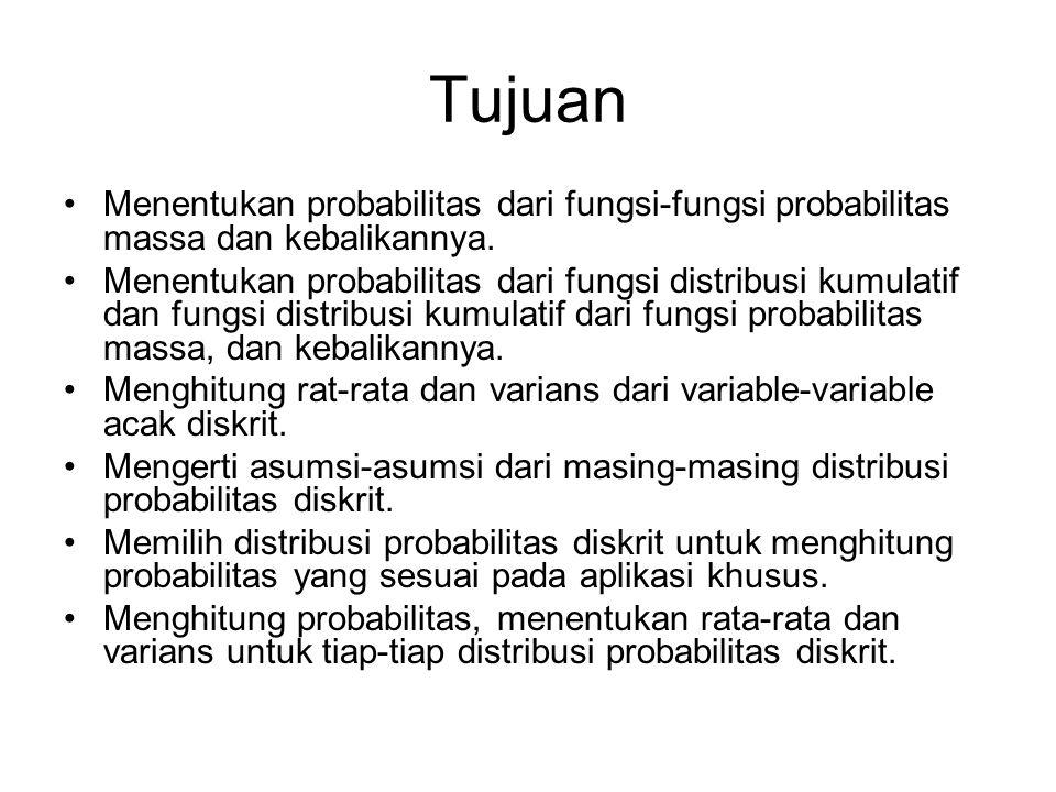 Tujuan Menentukan probabilitas dari fungsi-fungsi probabilitas massa dan kebalikannya.