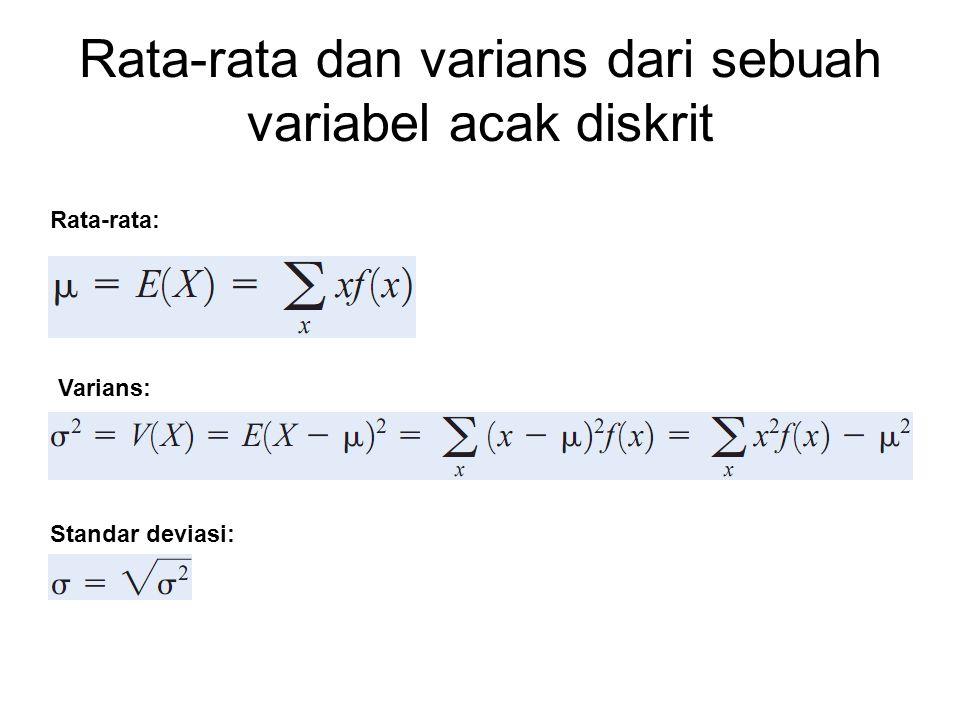 Rata-rata dan varians dari sebuah variabel acak diskrit