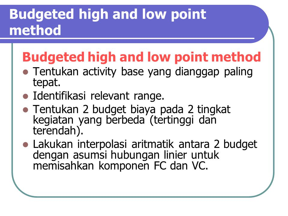 Budgeted high and low point method