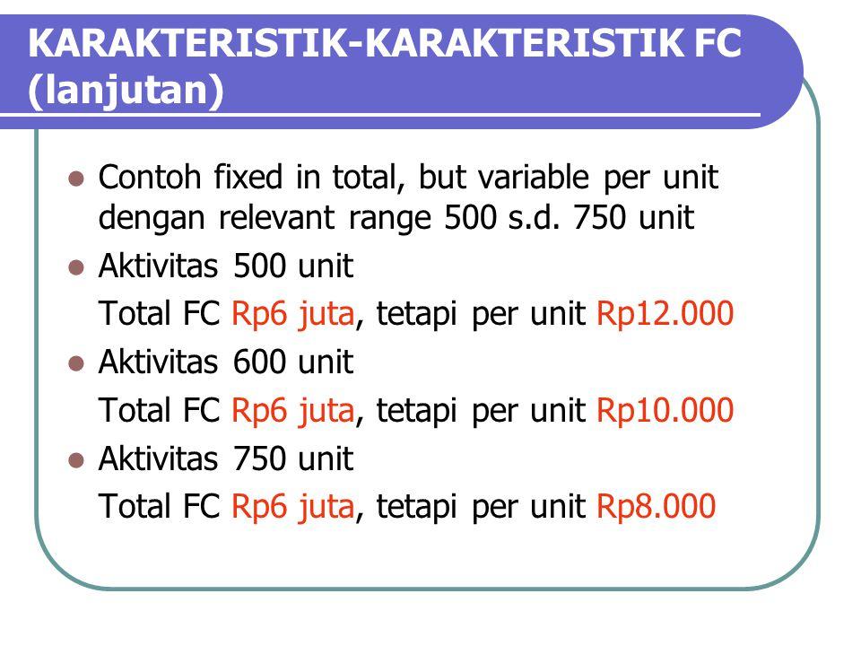 KARAKTERISTIK-KARAKTERISTIK FC (lanjutan)