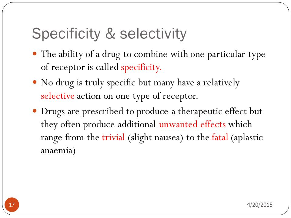 Specificity & selectivity