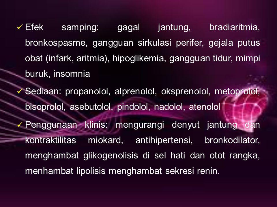 Efek samping: gagal jantung, bradiaritmia, bronkospasme, gangguan sirkulasi perifer, gejala putus obat (infark, aritmia), hipoglikemia, gangguan tidur, mimpi buruk, insomnia