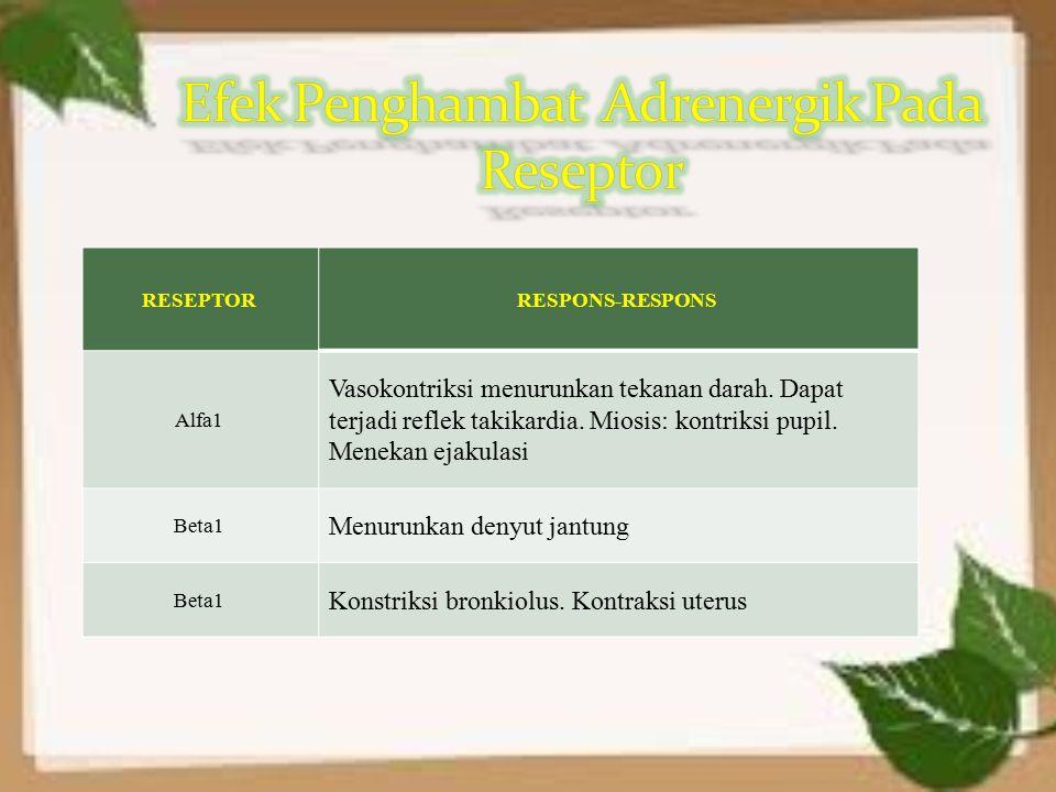 Efek Penghambat Adrenergik Pada Reseptor