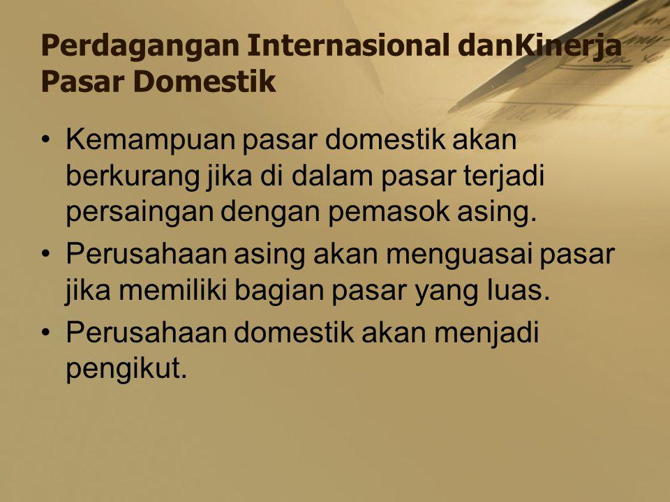 Perdagangan Internasional danKinerja Pasar Domestik