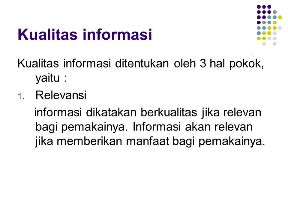 Kualitas informasi Kualitas informasi ditentukan oleh 3 hal pokok, yaitu : Relevansi.