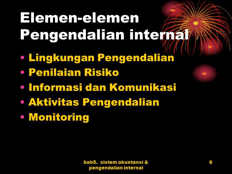 Elemen-elemen Pengendalian internal