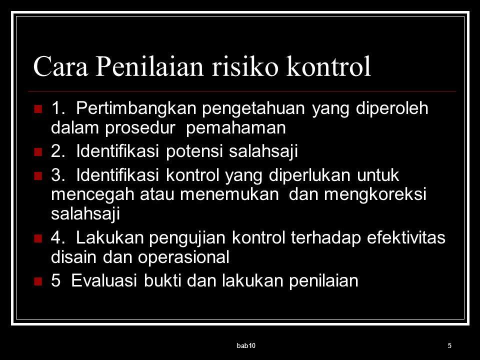 Cara Penilaian risiko kontrol