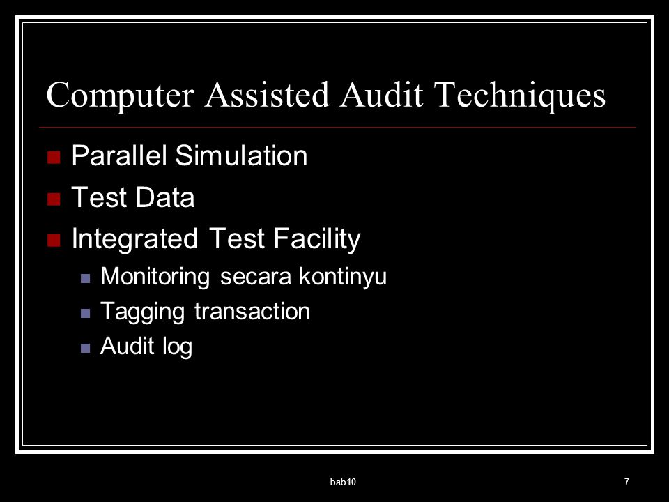 Computer Assisted Audit Techniques