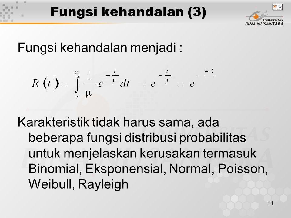Fungsi kehandalan (3) Fungsi kehandalan menjadi :