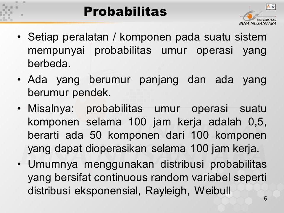 Probabilitas Setiap peralatan / komponen pada suatu sistem mempunyai probabilitas umur operasi yang berbeda.