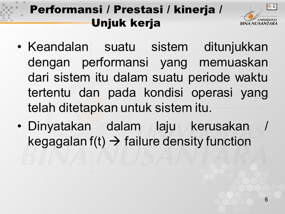 Performansi / Prestasi / kinerja / Unjuk kerja
