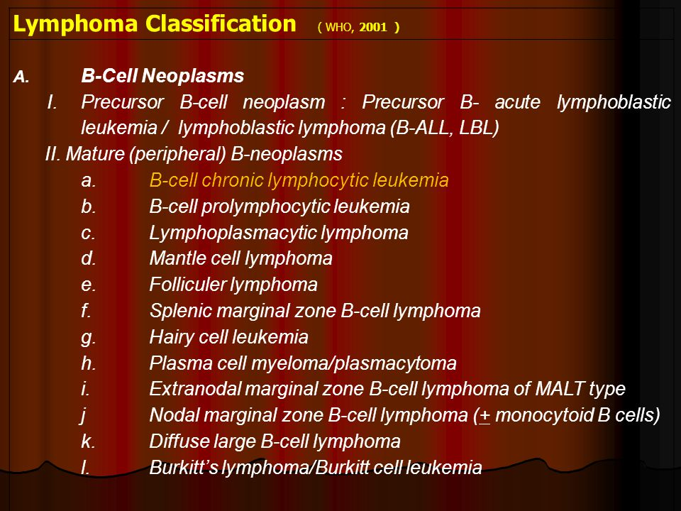Lymphoma Classification ( WHO, 2001 )