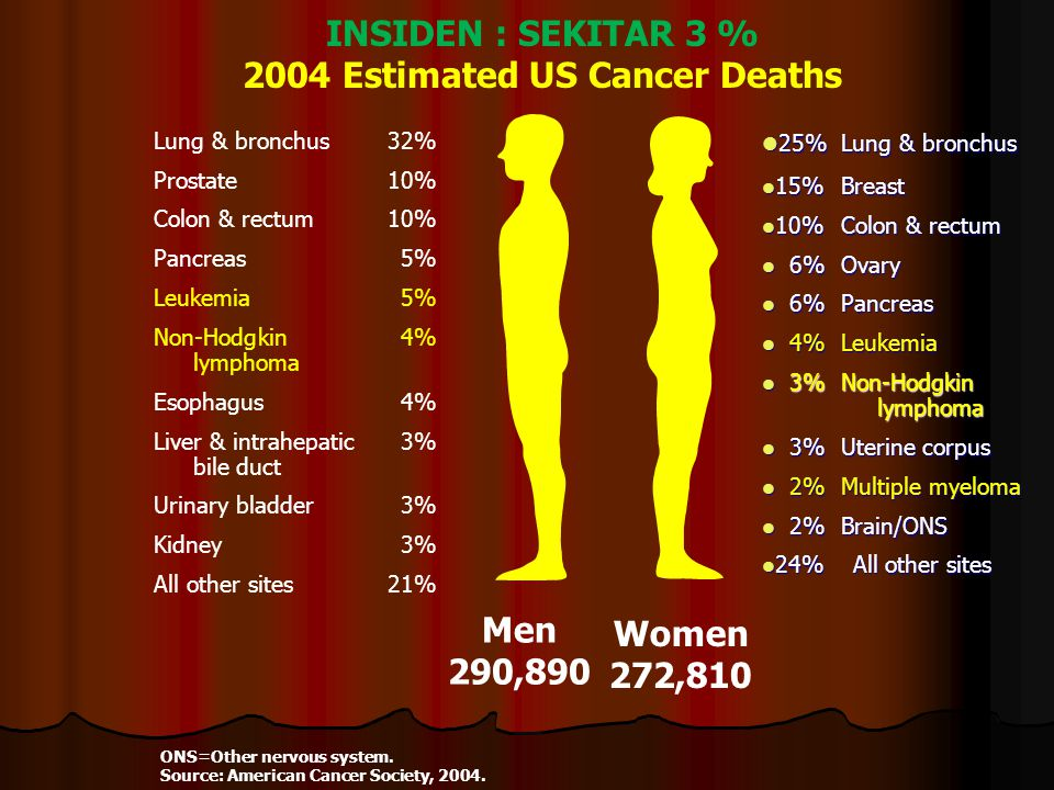 INSIDEN : SEKITAR 3 % 2004 Estimated US Cancer Deaths