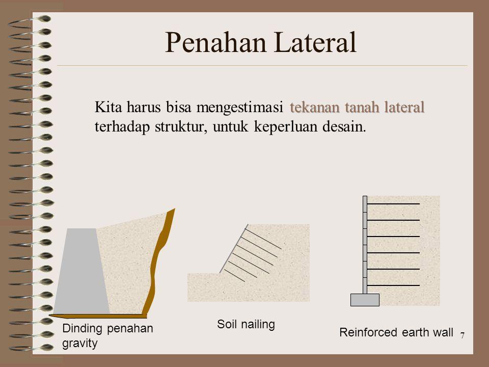 Penahan Lateral Kita harus bisa mengestimasi tekanan tanah lateral terhadap struktur, untuk keperluan desain.