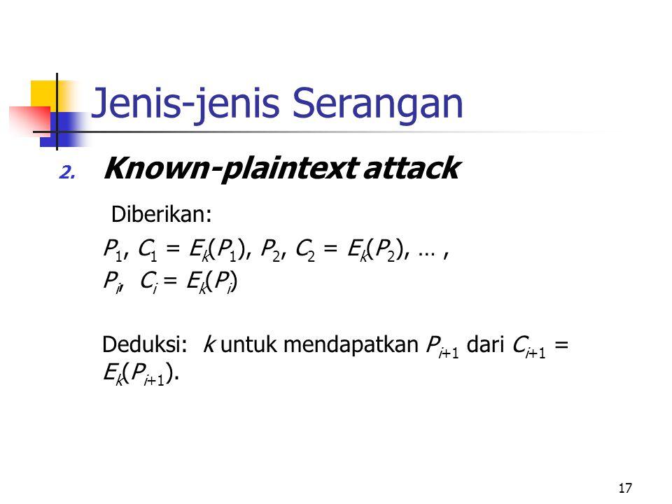Jenis-jenis Serangan Known-plaintext attack Diberikan:
