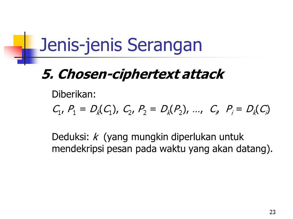 Jenis-jenis Serangan 5. Chosen-ciphertext attack Diberikan: