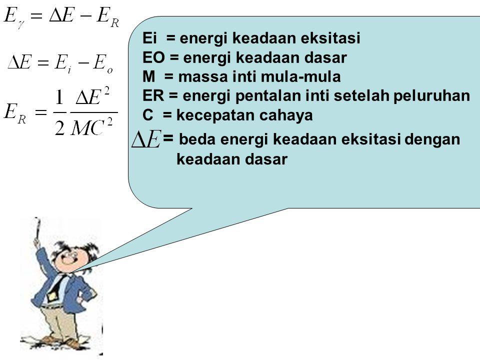 = beda energi keadaan eksitasi dengan