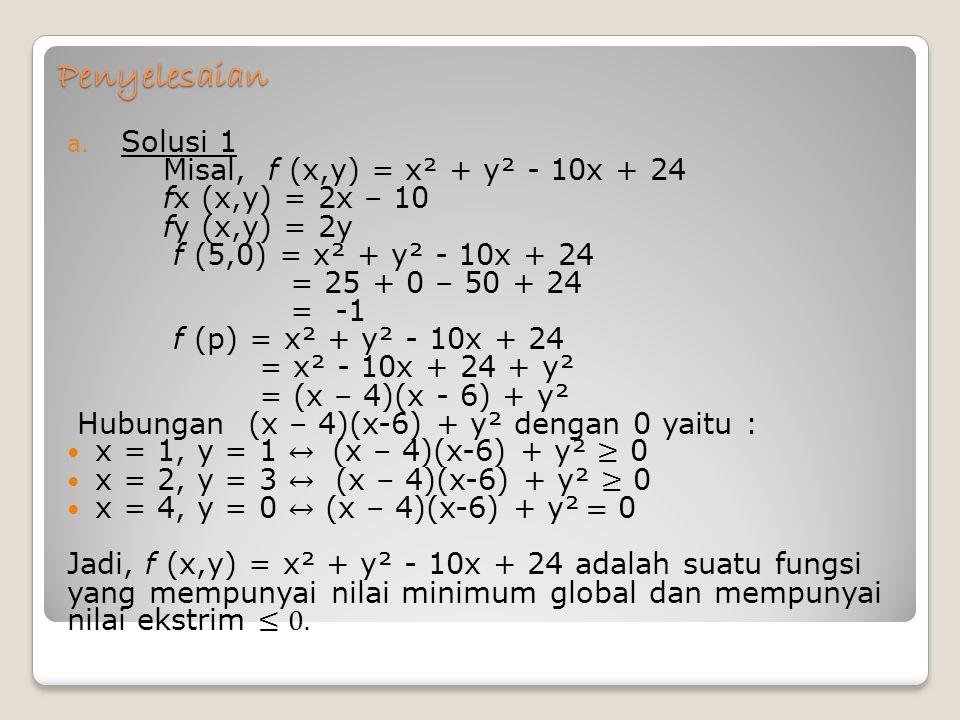 Penyelesaian Solusi 1 Misal, f (x,y) = x² + y² - 10x + 24