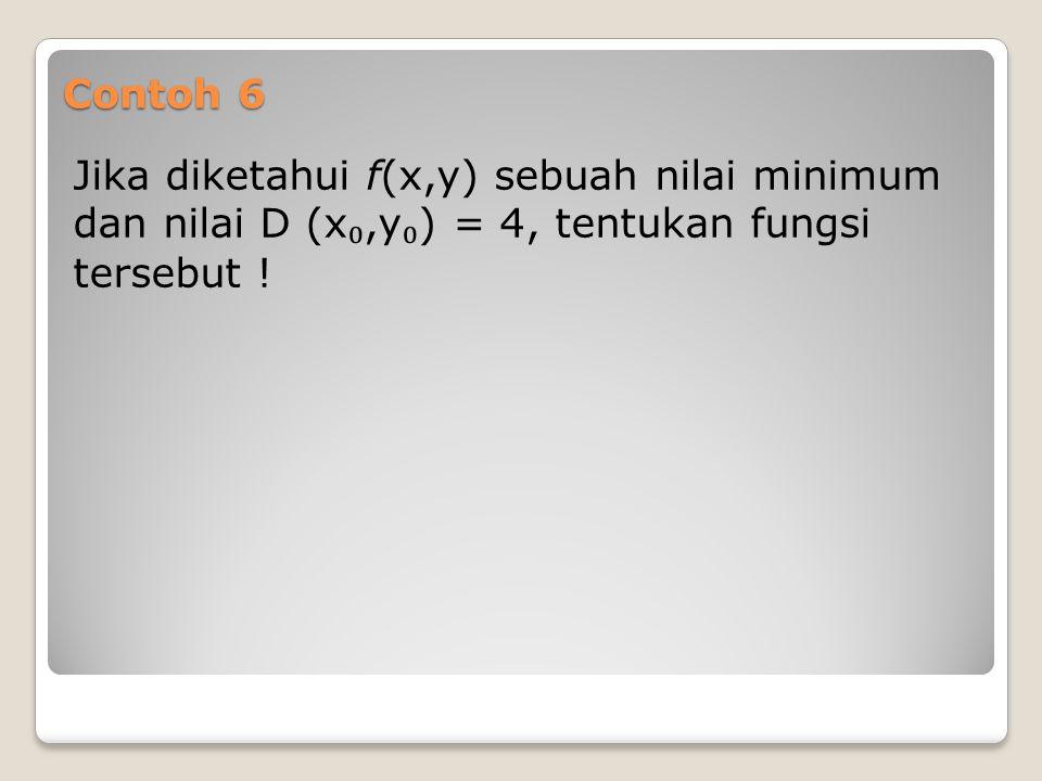 Contoh 6 Jika diketahui f(x,y) sebuah nilai minimum dan nilai D (x₀,y₀) = 4, tentukan fungsi tersebut !