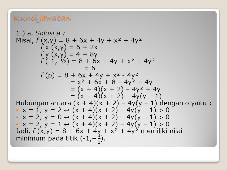 Kunci Jawaban 1.) a. Solusi a :