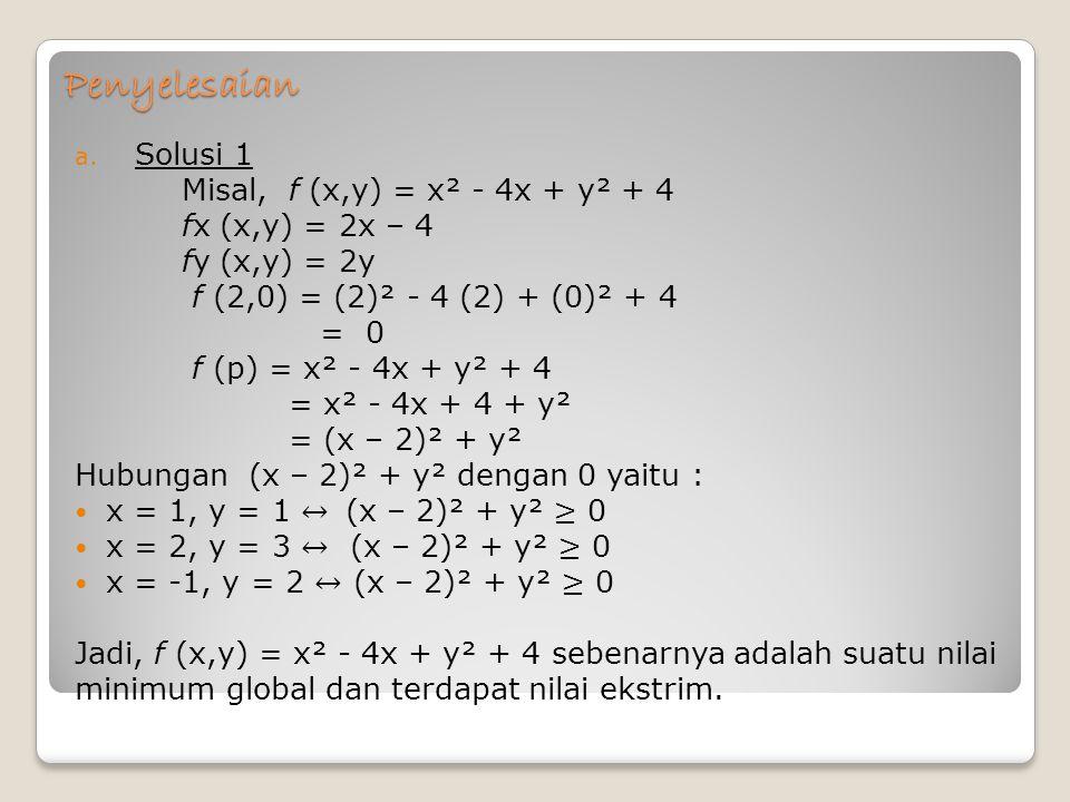Penyelesaian Solusi 1 Misal, f (x,y) = x² - 4x + y² + 4
