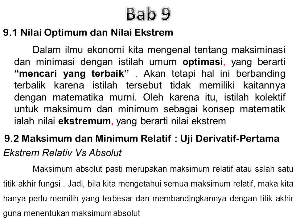 9.1 Nilai Optimum dan Nilai Ekstrem