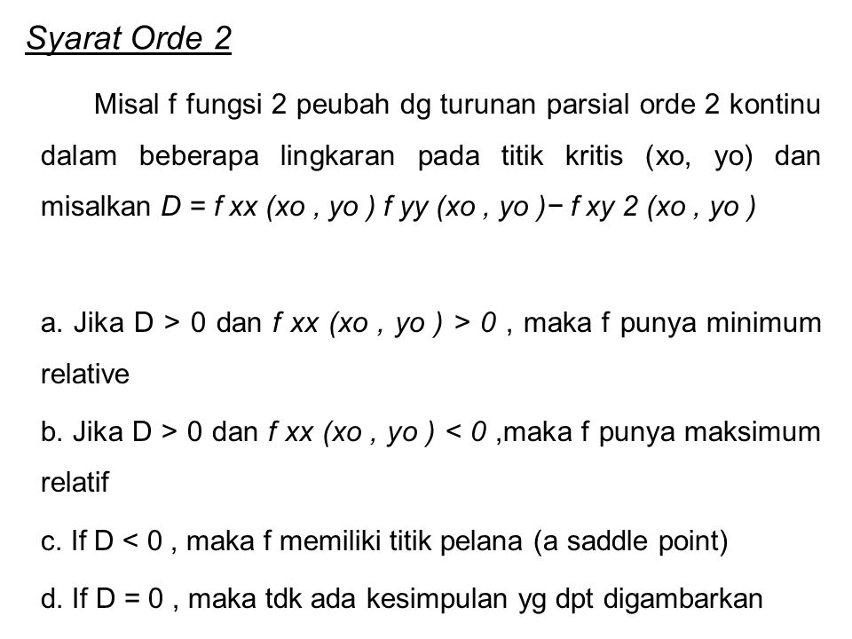 Syarat Orde 2