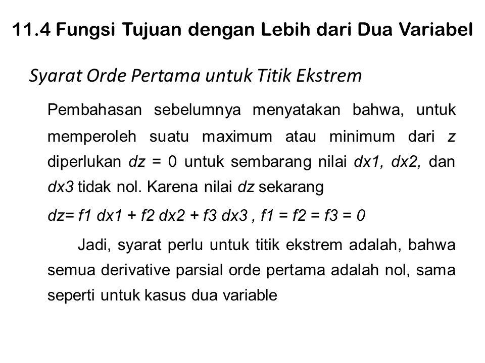 11.4 Fungsi Tujuan dengan Lebih dari Dua Variabel