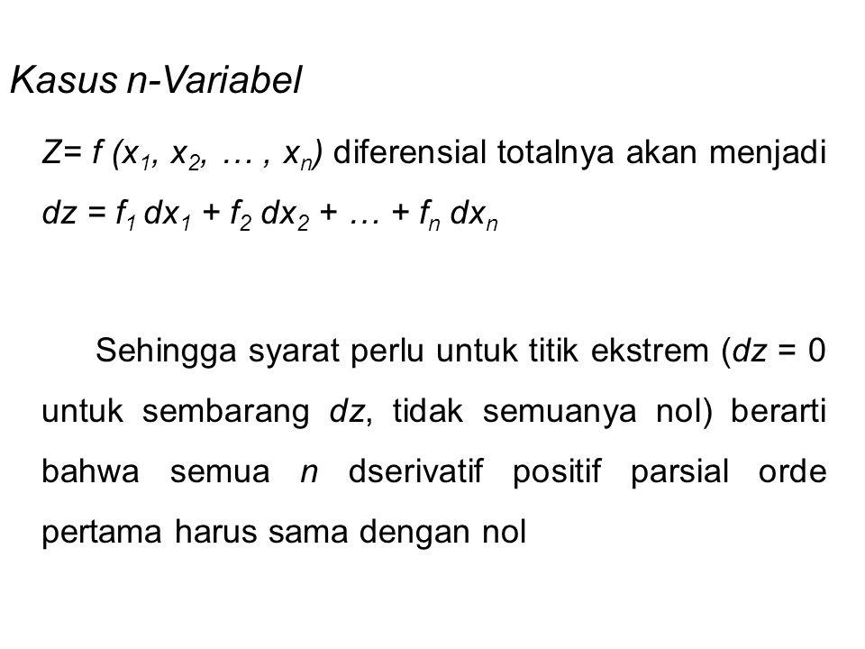 Kasus n-Variabel Z= f (x1, x2, … , xn) diferensial totalnya akan menjadi dz = f1 dx1 + f2 dx2 + … + fn dxn.