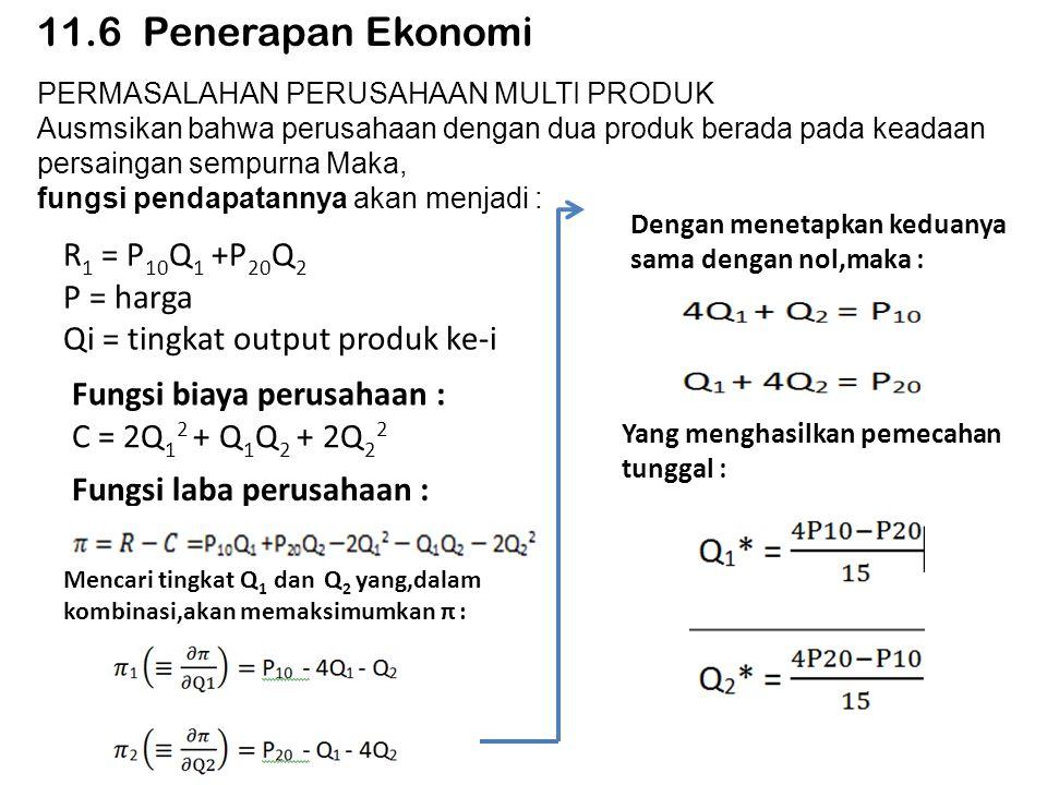 11.6 Penerapan Ekonomi R1 = P10Q1 +P20Q2 P = harga