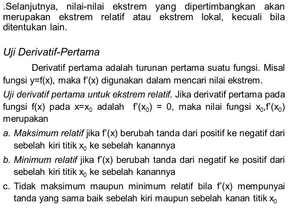 Uji Derivatif-Pertama