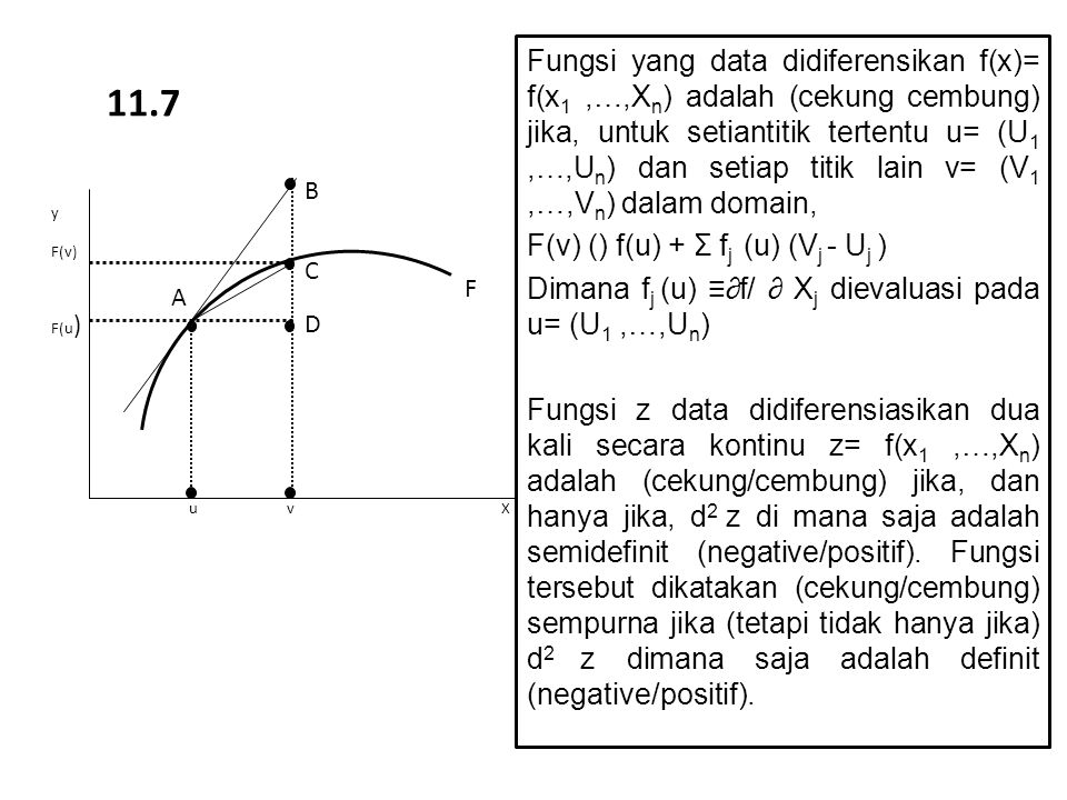 Fungsi yang data didiferensikan f(x)= f(x1 ,…,Xn) adalah (cekung cembung) jika, untuk setiantitik tertentu u= (U1 ,…,Un) dan setiap titik lain v= (V1 ,…,Vn) dalam domain,