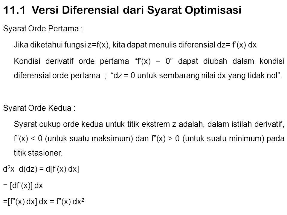 11.1 Versi Diferensial dari Syarat Optimisasi