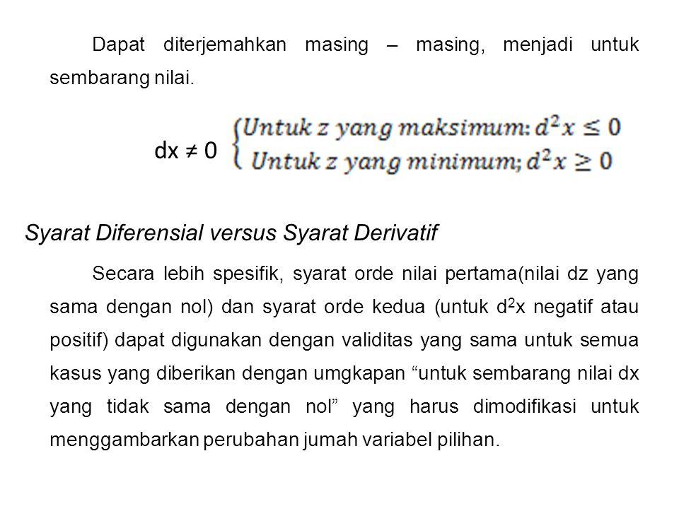 dx ≠ 0 Syarat Diferensial versus Syarat Derivatif