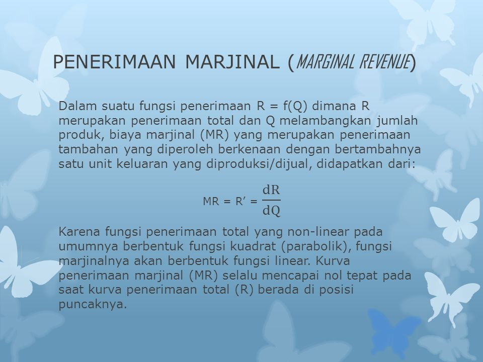 PENERIMAAN MARJINAL (MARGINAL REVENUE)