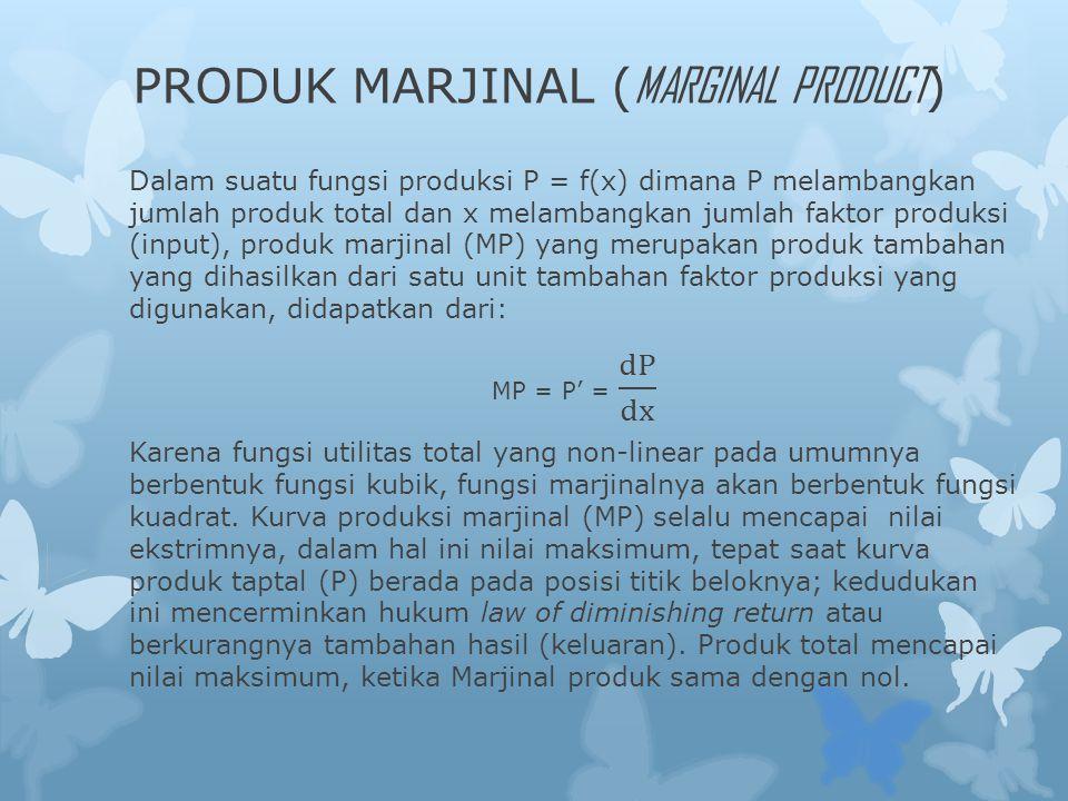 PRODUK MARJINAL (MARGINAL PRODUCT)