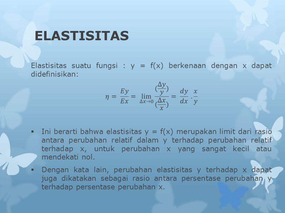 ELASTISITAS Elastisitas suatu fungsi : y = f(x) berkenaan dengan x dapat didefinisikan: