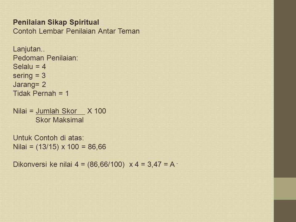 Penilaian Sikap Spiritual