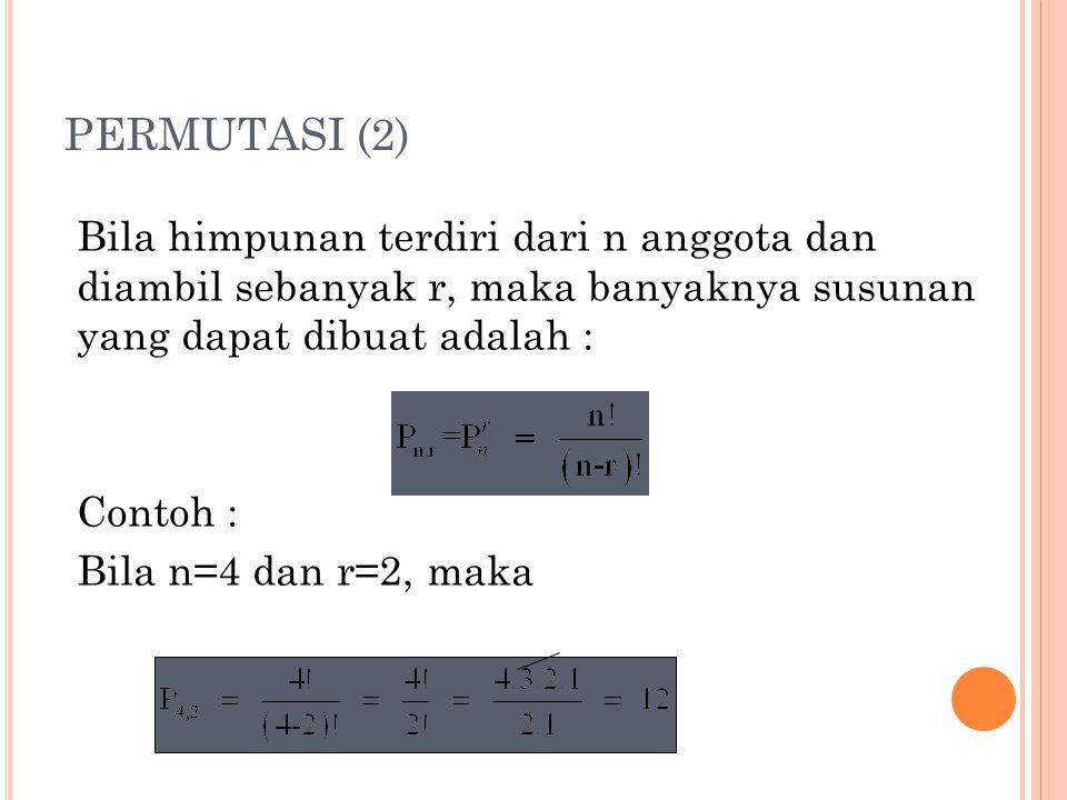 PERMUTASI (2) Bila himpunan terdiri dari n anggota dan diambil sebanyak r, maka banyaknya susunan yang dapat dibuat adalah :