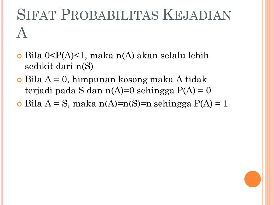 Sifat Probabilitas Kejadian A