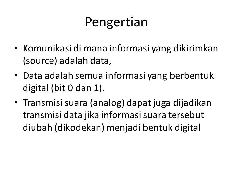 Pengertian Komunikasi di mana informasi yang dikirimkan (source) adalah data, Data adalah semua informasi yang berbentuk digital (bit 0 dan 1).