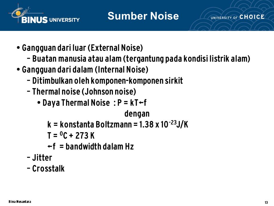 Sumber Noise Gangguan dari luar (External Noise)