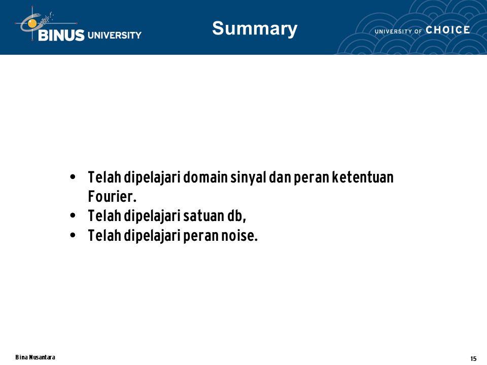 Summary Telah dipelajari domain sinyal dan peran ketentuan Fourier.