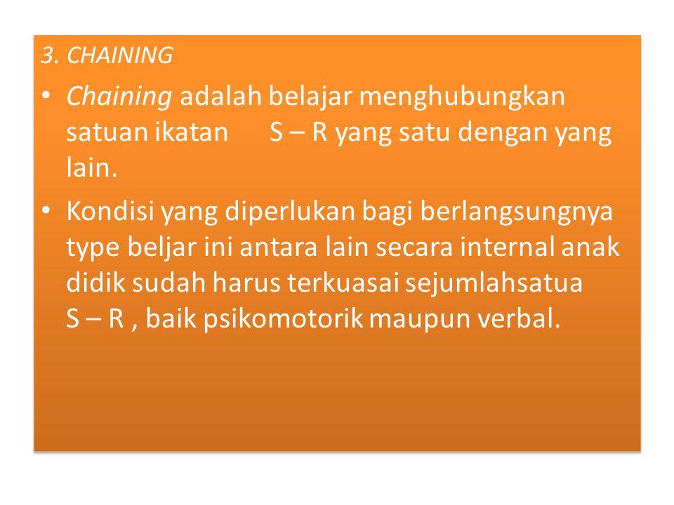 3. CHAINING Chaining adalah belajar menghubungkan satuan ikatan S – R yang satu dengan yang lain.