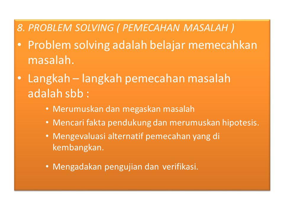Problem solving adalah belajar memecahkan masalah.