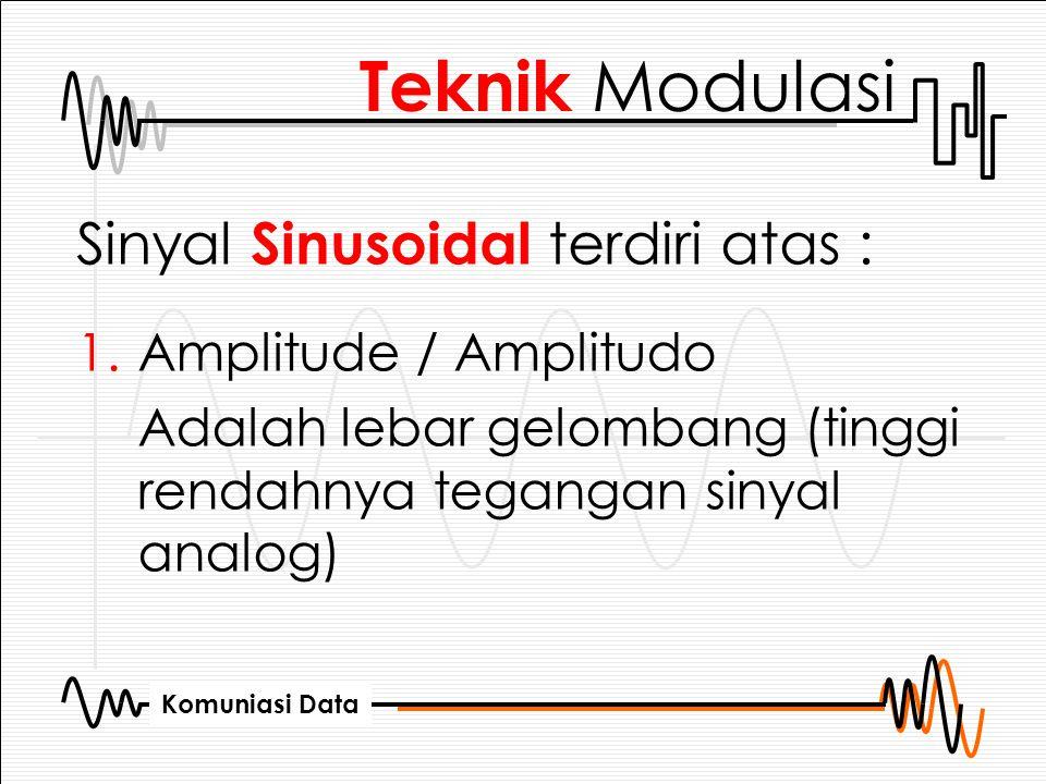 Teknik Modulasi Sinyal Sinusoidal terdiri atas : Amplitude / Amplitudo
