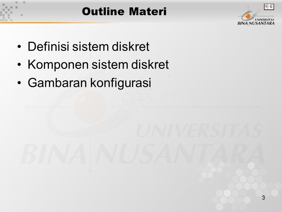 Definisi sistem diskret Komponen sistem diskret Gambaran konfigurasi
