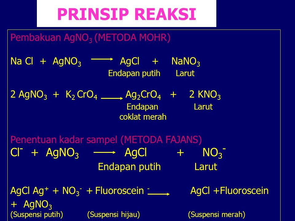 PRINSIP REAKSI Cl- + AgNO3 AgCl + NO3- Endapan putih Larut