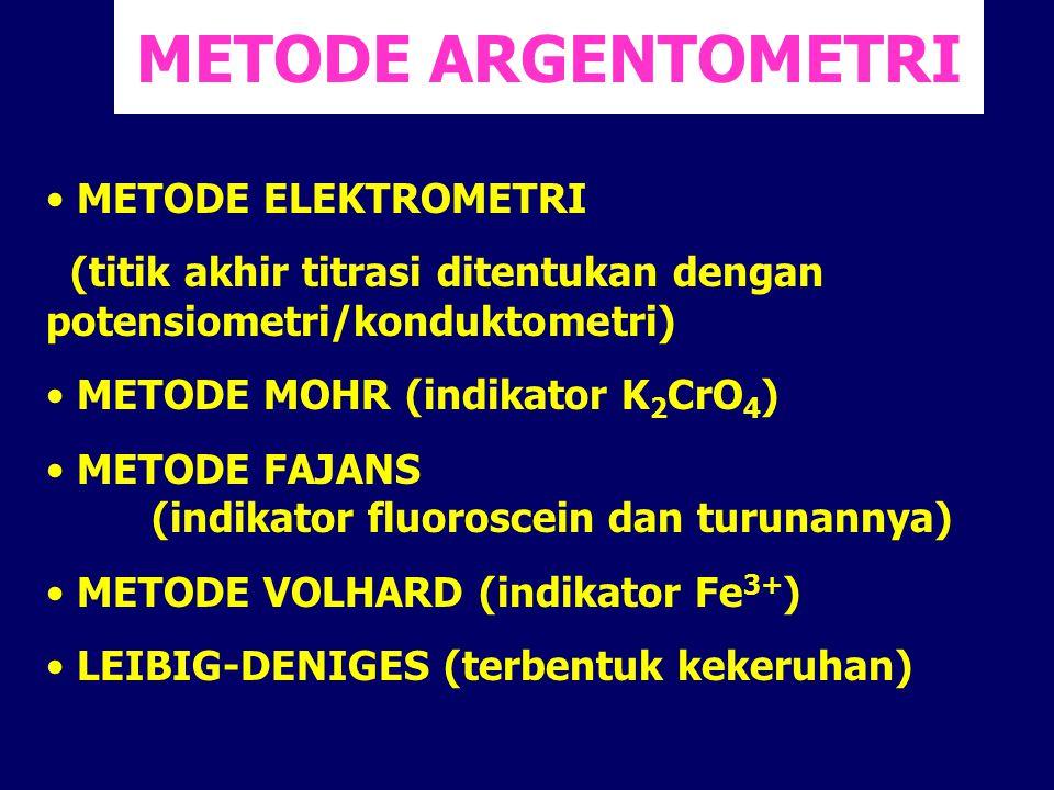 METODE ARGENTOMETRI METODE ELEKTROMETRI